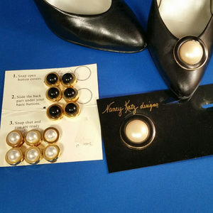 "Bundle of button covers and shoe ""buttons""."